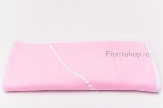 Patura polar/ fleece cu detaliu panglica satin (roz) - 75x80 cm