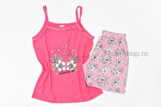 Pijamale dama pentru vara - Flori (Corai)