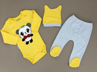 Compleu 3 piese Panda (galben)