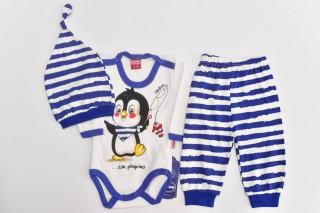 Compleu 3 piese Pinguin - Albastru