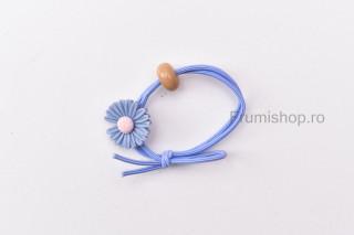 Elastic pentru par - Floricica (albastru)