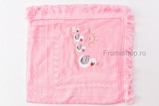 Patura tricotata Lebada (roz) - 85x85 cm