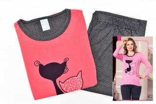 Pijamale Dama - Pisica culoare Corai