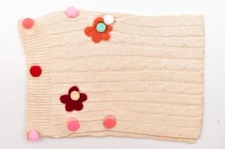 Fular Tricotat Floricele-Bej