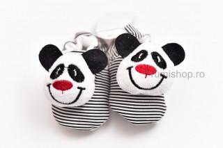 Pantofiori bebelusi - Panda (dungi alb-negru)