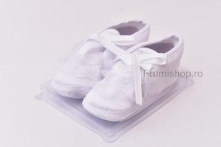 Pantofiori satin - Fundita (alb)