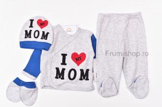 """Compleu 4 piese """"I love mom"""" (gri/albastru)"""