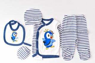 Compleu 5 Piese Pinguin - Albastru