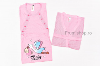 Compleu maternitate Baray - Camasa si halat (roz cu buline mici/desen barza)