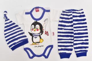 Compleu 3 piese - body maneca scurta - Pinguin