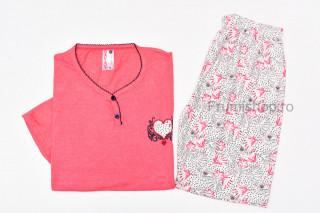 Pijamale dama pentru vara - MARIMI MARI (corai) - Inima