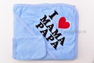 """Prosop """"I love mama/papa"""" (bleu) - 85x85 cm"""