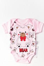 Body maneca scurta Ursulet (roz)