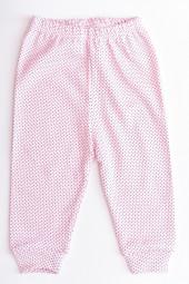 Pantaloni bumbac cu Manseta - roz cu bulinute