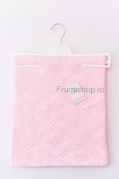Patura tricotata Romburi (roz) - 75x95 cm