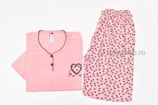 Pijamale dama pentru vara - MARIMI MARI (piersicuta) - Inima