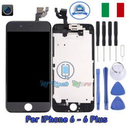DISPLAY COMPLETO DI FRAME LCD E TOUCH PAD FOTOCAMERA E SENSORI SCHERMO PER IPHONE 6 - 6 PLUS - 6S - 6S PLUS
