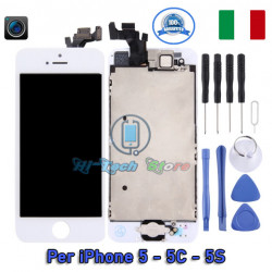 DISPLAY COMPLETO DI FRAME LCD E TOUCH PAD FOTOCAMERA E SENSORI SCHERMO PER IPHONE 5 - 5C - 5S - SE