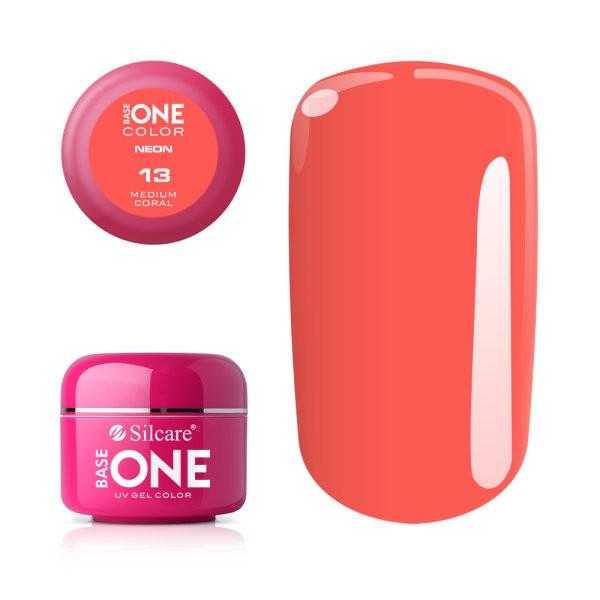 Gel UV Color Base One Silcare Neon Medium Coral 13 baseone.ro