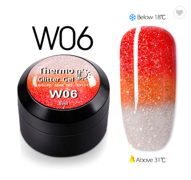 Gel color CANNI Gliter Termo 5ml W06 baseone.ro