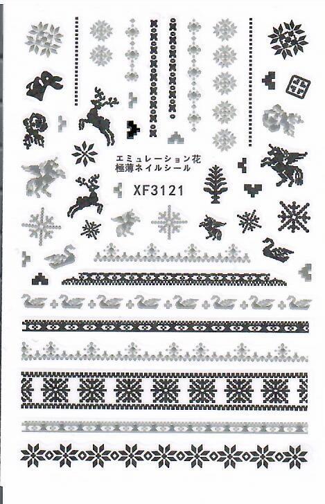 Decoratiuni unghii motive de craciun Model 9*6 cm XF3121 baseone.ro