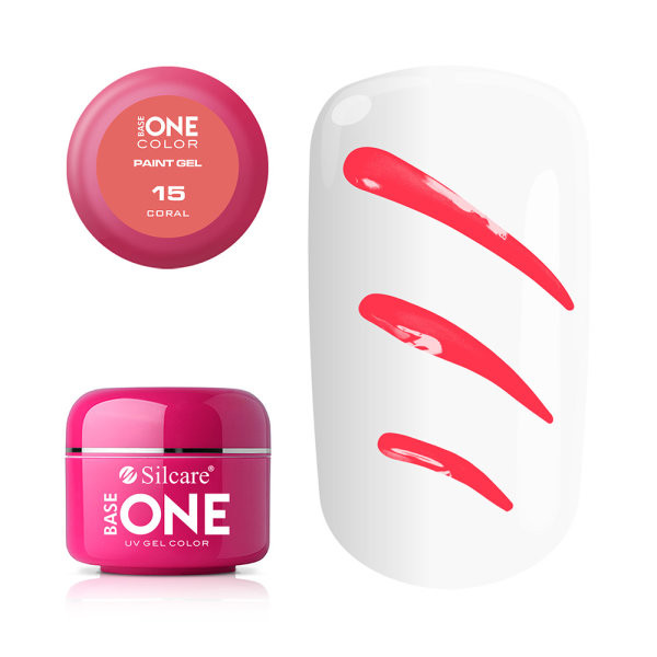 Gel UV Color Base One Silcare Paint Coral 15 baseone.ro