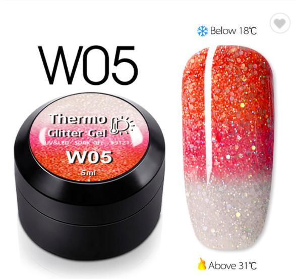 Gel color CANNI Gliter Termo 5ml W05 baseone.ro