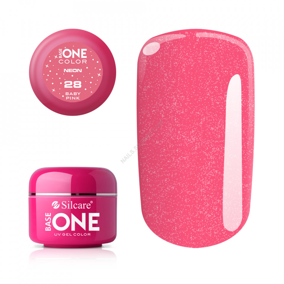 Gel UV Color Base One Silcare Neon Baby Pink 28 baseone.ro