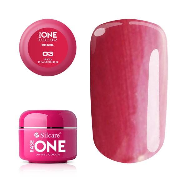 Gel UV Color Base One 5g Pearl 03 Red Diamonds baseone.ro