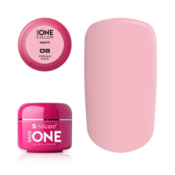 Gel uv Color Base One Silcare Matt Cream Pink 08 baseone.ro