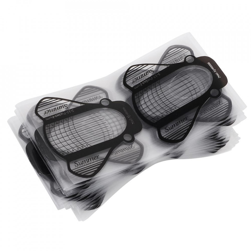 Pachet 100 Sabloane pentru constructie unghii Plastifiate PVC baseone.ro