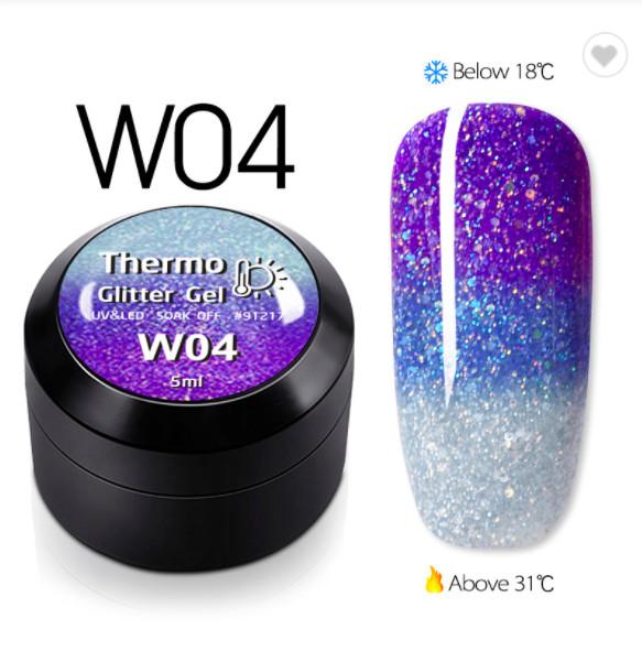 Gel color CANNI Gliter Termo 5ml W04 baseone.ro