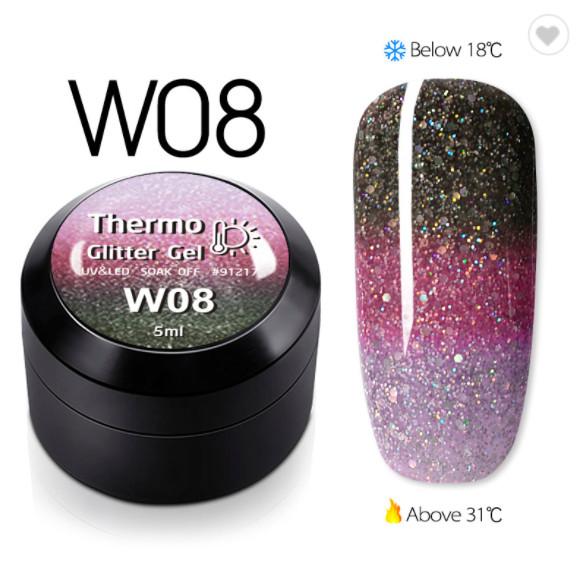 Gel color CANNI Gliter Termo 5ml W08 baseone.ro