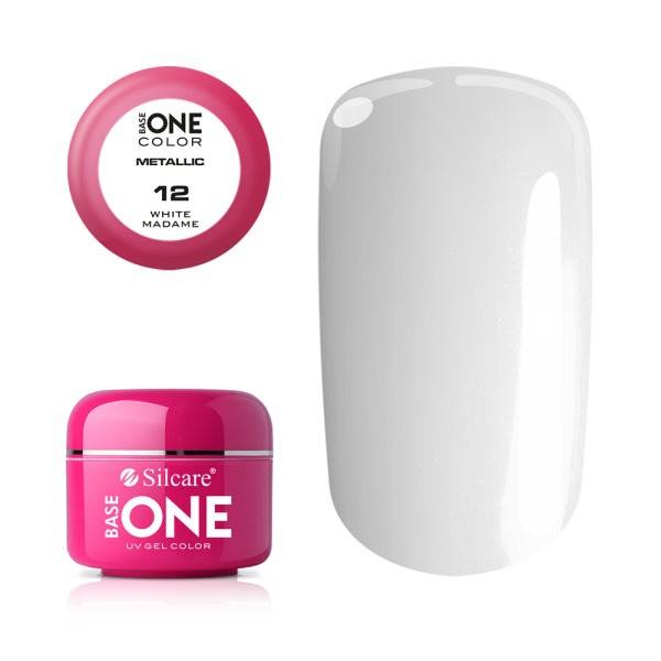 Gel UV Color Base One 5g Metalic White Madame 12 baseone.ro