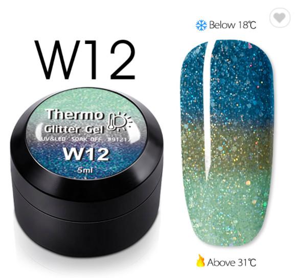 Gel color CANNI Gliter Termo 5ml W12 baseone.ro
