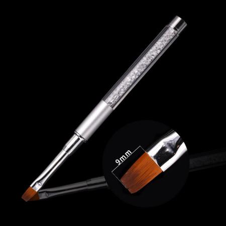 Pensula Gel 9mm (nr 6) maner cu cristale