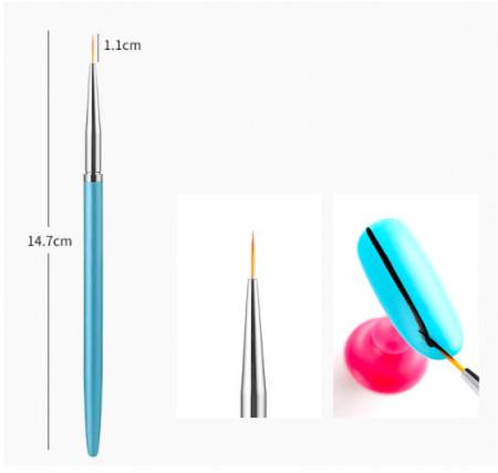 Pensula pictura maner albastru 1.1cm
