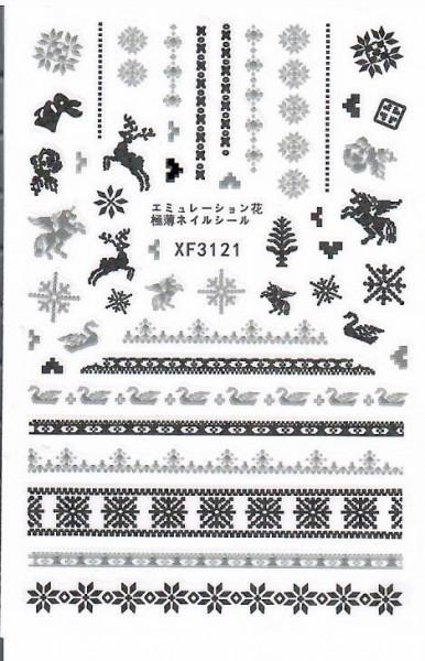 Decoratiuni unghii motive de craciun Model 9*6 cm XF3121