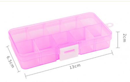 Cutie mica depozitare plastic roz transparent tip A