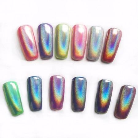 Pigment Oglinda set 12 Silver G503-Rainbow-Holografic