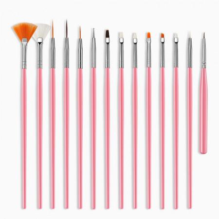 Pensule gel set 15 buc Pink NBS15P