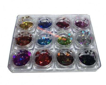 Decor Unghii Paiete Fluturi multicolor set 12 g1208