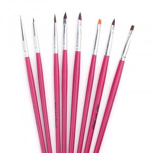 Set 8 pensule cu manere lungi roz-fucsia