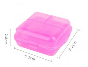 Cutie mica depozitare plastic roz transparent tip B
