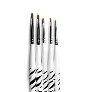 Set 5 pensule Gel Unghii Zebra maner scurt