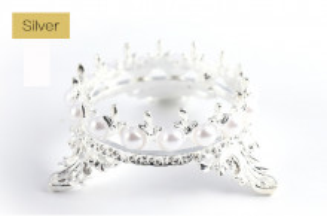 Suport pensule stil coronita argintiu
