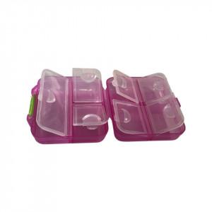 Cutie mica depozitare plastic roz transparent tip C