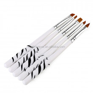 Set 5 pensule cu manere scurte albe+negre