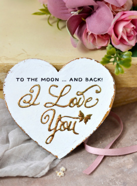Inimioara magnet decorata cu auriu - I love You To the Moon and back