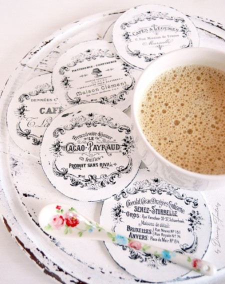 Suporturi de pahare frantuzesti 'Cacao, Cafes & Chocolat ', cu rame vintage